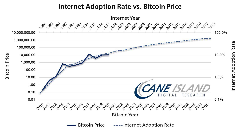 Bitcoin vs. internet adoption curve