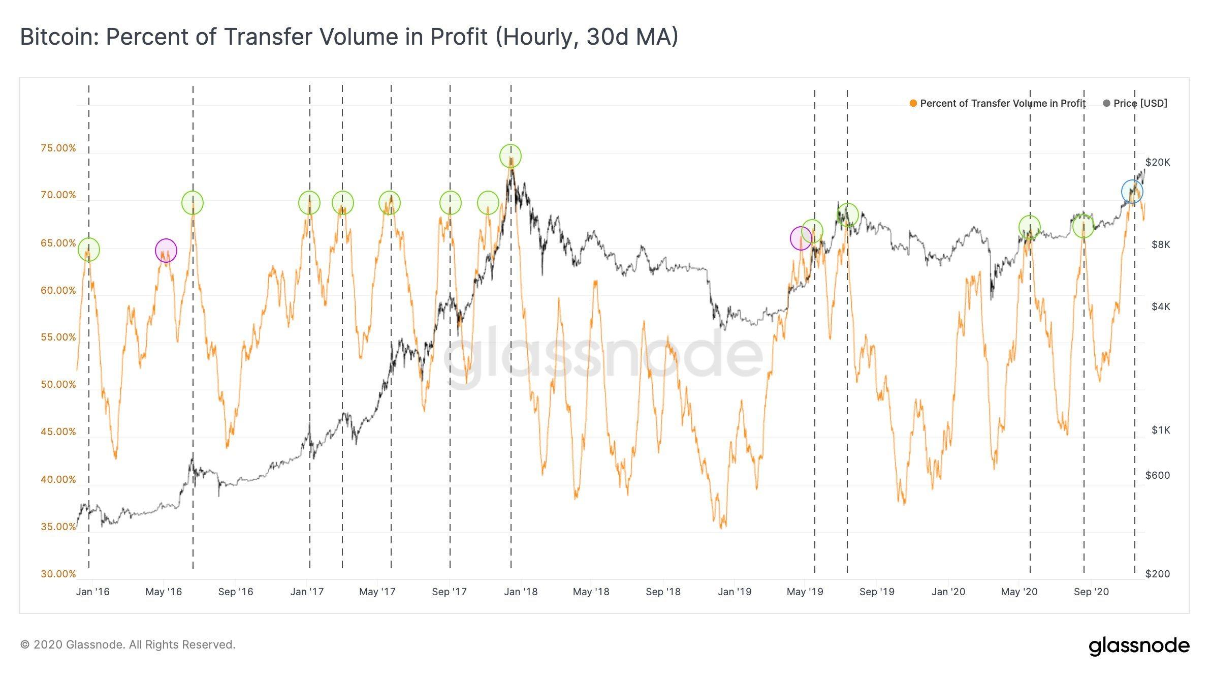 Bitcoin percentage of transfer volume in profit chart