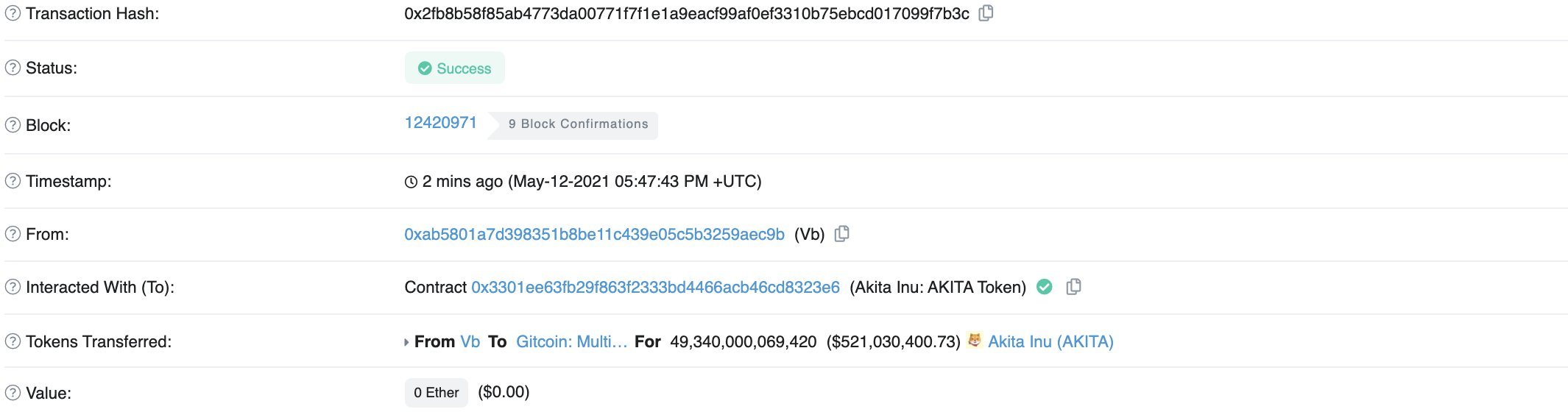 Vitalik Buterin transaction to Gitcoin
