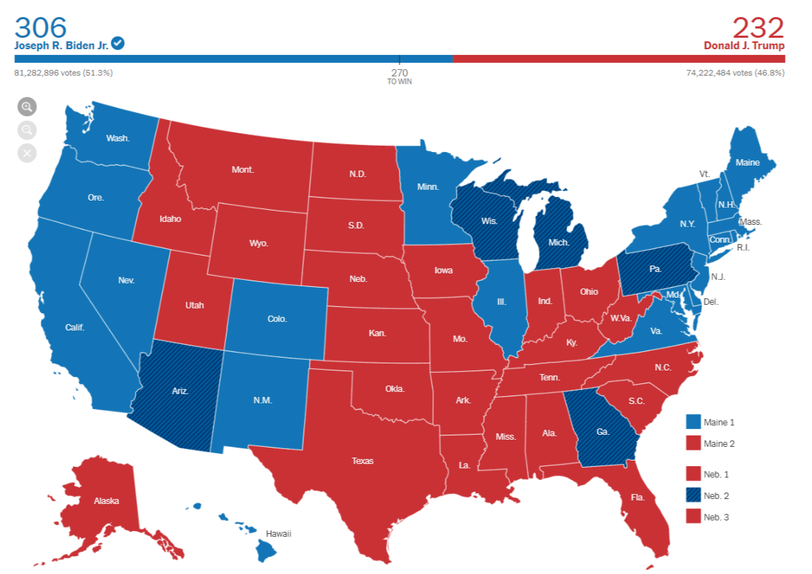 US Election 2020 map