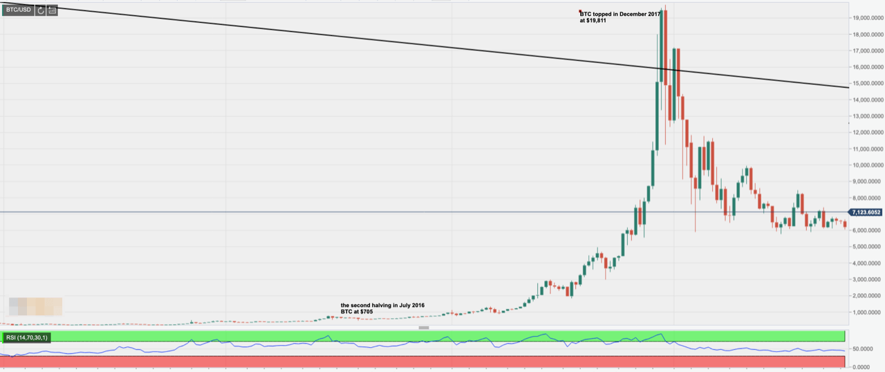 BTC/USD price action - Bitcoin second halving